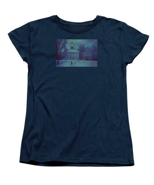 Sledding At The Old Round Church Women's T-Shirt (Standard Cut) by Jeff Folger