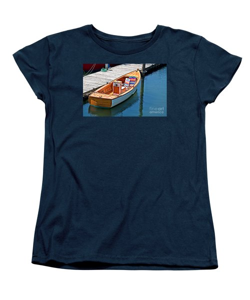 Women's T-Shirt (Standard Cut) featuring the photograph Small Dinghy Boat Art Prints by Valerie Garner