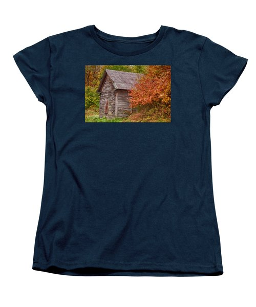 Women's T-Shirt (Standard Cut) featuring the photograph Small Wooden Shack In The Autumn Colors by Jeff Folger