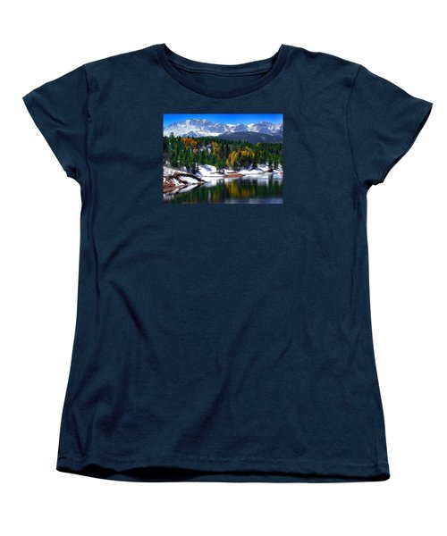 Snow Capped Pikes Peak At Crystal  Women's T-Shirt (Standard Cut) by John Hoffman