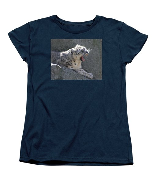 Women's T-Shirt (Standard Cut) featuring the photograph Snow Leopard Yawn by Neal Eslinger