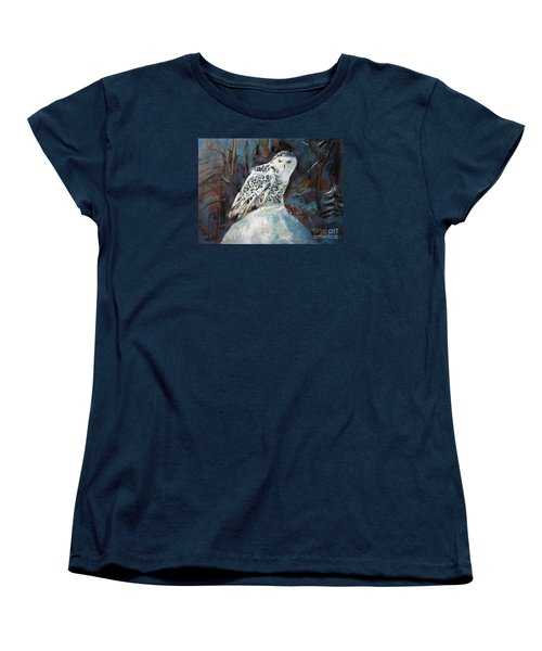 Women's T-Shirt (Standard Cut) featuring the painting Snow Owl by Jieming Wang
