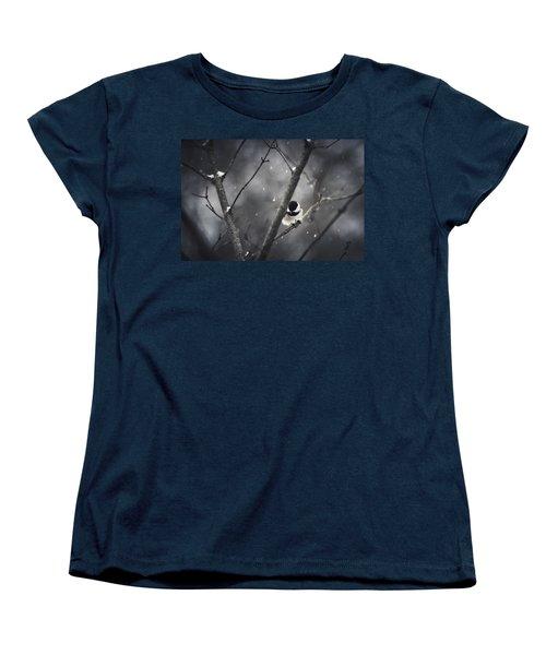 Snowy Chickadee Women's T-Shirt (Standard Cut) by Shane Holsclaw