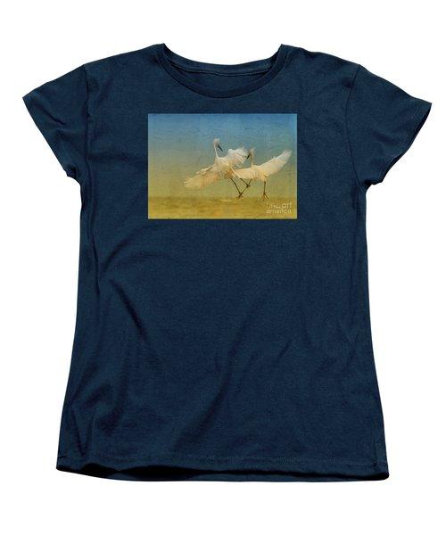 Snowy Egret Dance Women's T-Shirt (Standard Cut) by Deborah Benoit