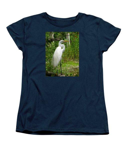 Snowy Egret Women's T-Shirt (Standard Cut) by Melinda Saminski