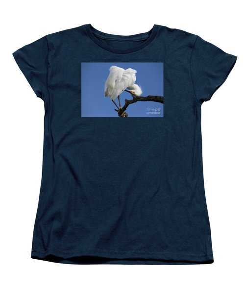 Women's T-Shirt (Standard Cut) featuring the photograph Snowy Egret Photograph by Meg Rousher