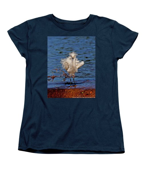 Women's T-Shirt (Standard Cut) featuring the photograph Snowy Egret With Yellow Feet by Tom Janca