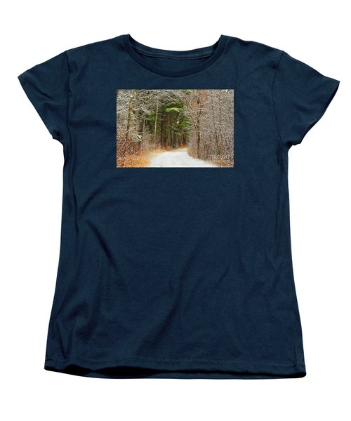 Women's T-Shirt (Standard Cut) featuring the photograph Snowy Tunnel Of Trees by Terri Gostola