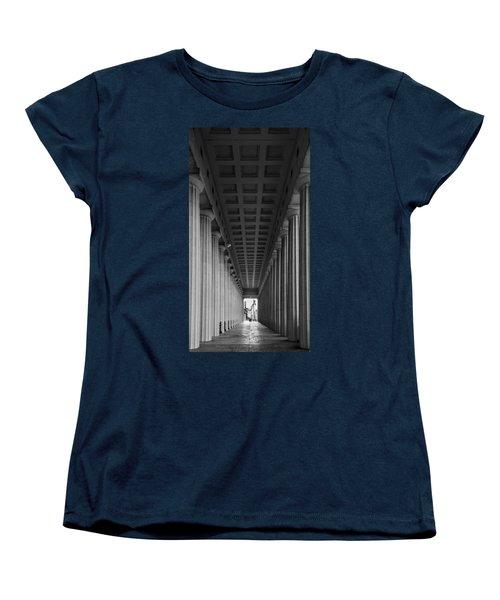 Soldier Field Colonnade Chicago B W B W Women's T-Shirt (Standard Cut) by Steve Gadomski