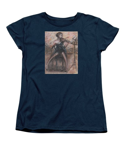Women's T-Shirt (Standard Cut) featuring the painting Solo Concerto by Jarmo Korhonen aka Jarko