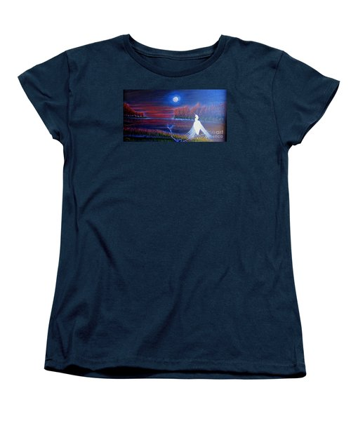 Women's T-Shirt (Standard Cut) featuring the painting Song Of The Silent Autumn Night by Kimberlee Baxter