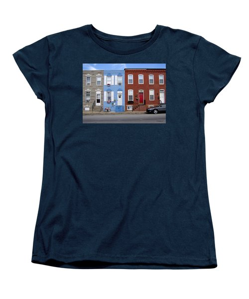 Women's T-Shirt (Standard Cut) featuring the photograph South Baltimore Row Homes by Brian Wallace