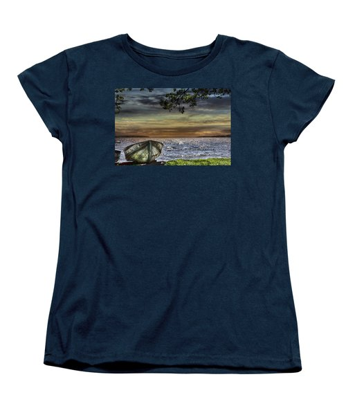 South Manistique Lake With Rowboat Women's T-Shirt (Standard Cut) by Evie Carrier