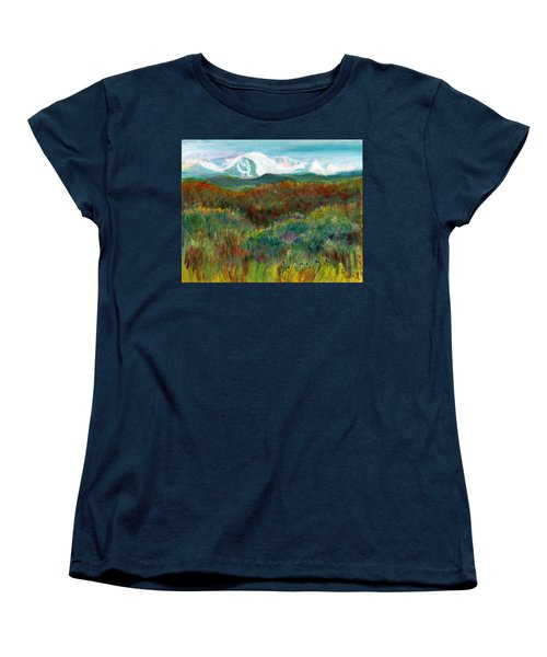 Women's T-Shirt (Standard Cut) featuring the painting Spanish Peaks Evening by C Sitton