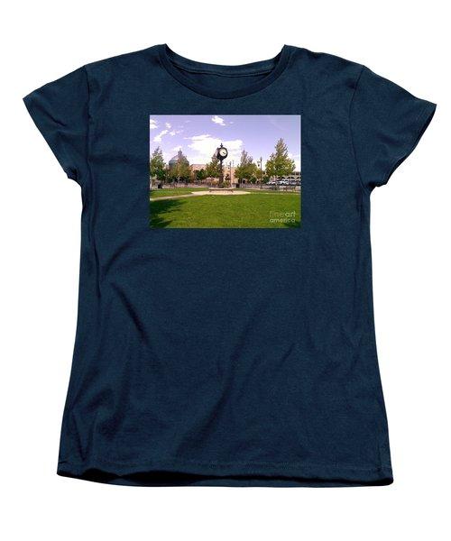 Women's T-Shirt (Standard Cut) featuring the photograph Sparks Community Clock by Bobbee Rickard