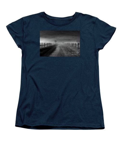 Sparks Lane In Black And White Women's T-Shirt (Standard Cut) by Douglas Stucky