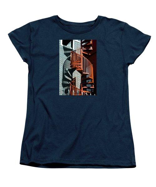 Spiral Stairs - Color Women's T-Shirt (Standard Cut) by Darryl Dalton