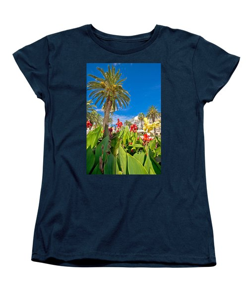 Split Riva Palms And Flowers Women's T-Shirt (Standard Cut) by Brch Photography