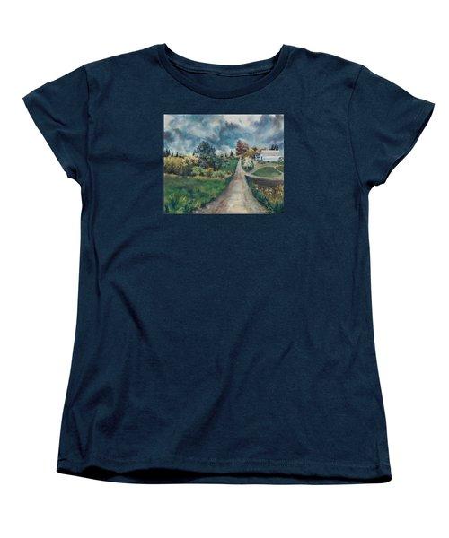 Women's T-Shirt (Standard Cut) featuring the painting Spring Farm by Joy Nichols