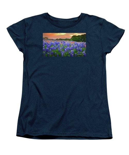 Springtime Sunset In Texas - Texas Bluebonnet Wildflowers Landscape Flowers Paintbrush Women's T-Shirt (Standard Cut) by Jon Holiday