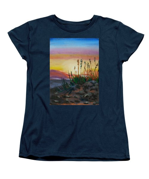 Women's T-Shirt (Standard Cut) featuring the painting  Beach At Sunrise by Michael Daniels