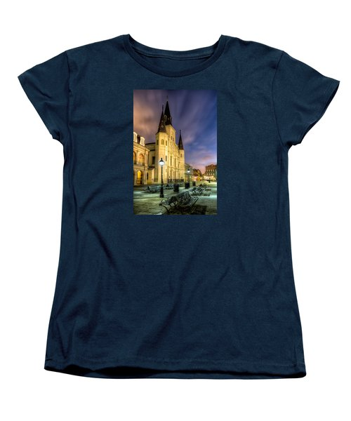 Women's T-Shirt (Standard Cut) featuring the photograph St. Louis Cathedral At Dawn by Tim Stanley