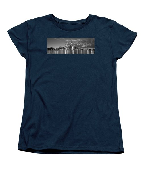 Women's T-Shirt (Standard Cut) featuring the photograph St. Louis Skyline At Dusk Gateway Arch Black And White Bw Panorama Missouri by Jon Holiday