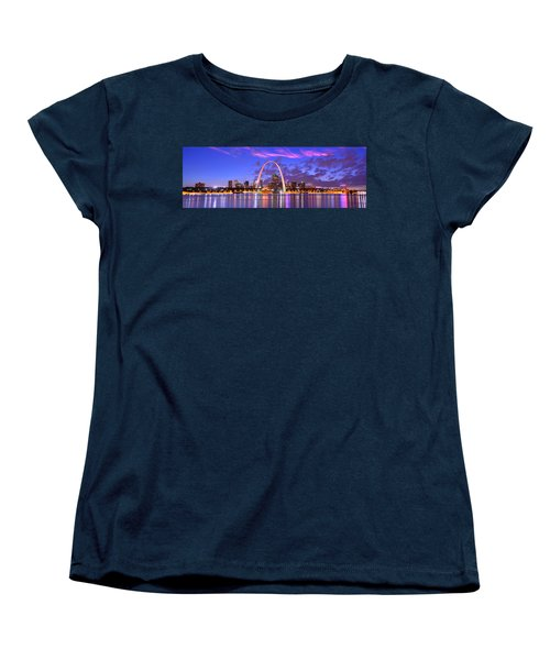 Women's T-Shirt (Standard Cut) featuring the photograph St. Louis Skyline At Dusk Gateway Arch Color Panorama Missouri by Jon Holiday