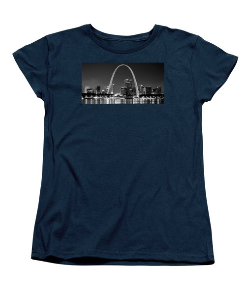 Women's T-Shirt (Standard Cut) featuring the photograph St. Louis Skyline At Night Gateway Arch Black And White Bw Panorama Missouri by Jon Holiday