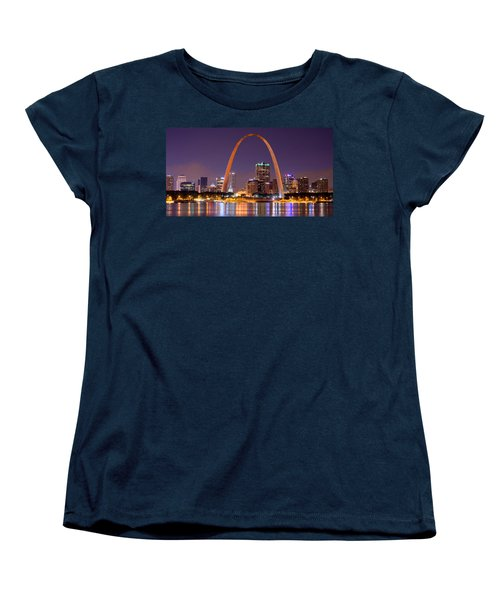 Women's T-Shirt (Standard Cut) featuring the photograph St. Louis Skyline At Night Gateway Arch Color Panorama Missouri by Jon Holiday