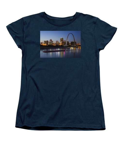 St Louis Skyline With Barges Women's T-Shirt (Standard Cut) by Garry McMichael