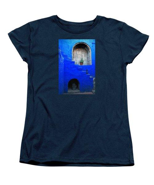 Staircase In Blue Courtyard Women's T-Shirt (Standard Cut) by RicardMN Photography
