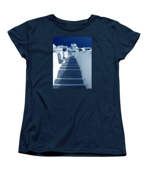 Stairs Down To Ocean Santorini Women's T-Shirt (Standard Cut) by Colette V Hera  Guggenheim