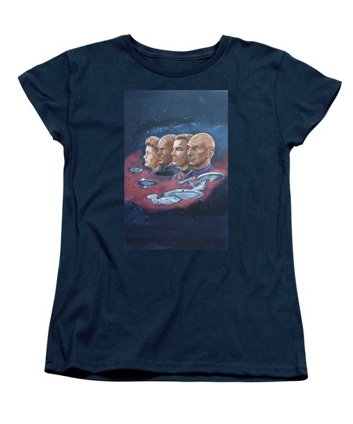Star Trek Tribute Captains Women's T-Shirt (Standard Cut) by Bryan Bustard