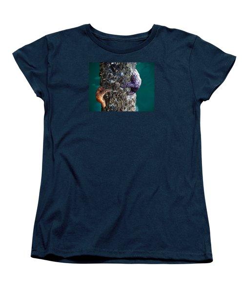 Starfish Under The Pier Women's T-Shirt (Standard Cut) by Kathy Churchman