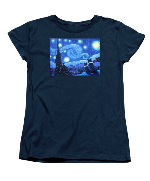 Women's T-Shirt (Standard Cut) featuring the painting Starry Night Border Collies by Fran Brooks