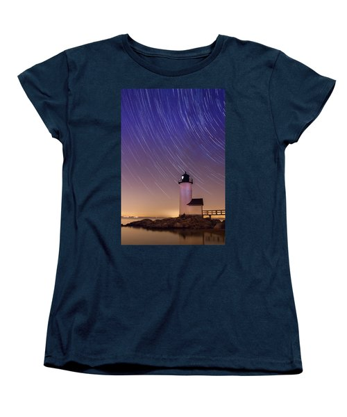 Women's T-Shirt (Standard Cut) featuring the photograph Stars Trailing Over Lighthouse by Jeff Folger
