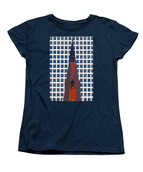 Women's T-Shirt (Standard Cut) featuring the photograph Steeple And Office Building by Janette Boyd
