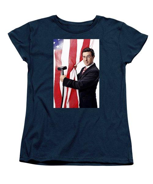 Women's T-Shirt (Standard Cut) featuring the painting Stephen Colbert Artwork by Sheraz A