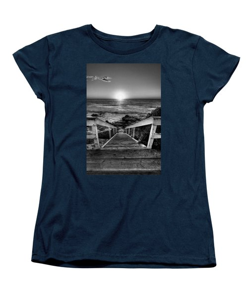 Steps To The Sun  Black And White Women's T-Shirt (Standard Cut) by Peter Tellone