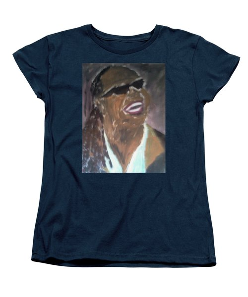 Women's T-Shirt (Standard Cut) featuring the painting Stevie Wonder 1 by Christy Saunders Church