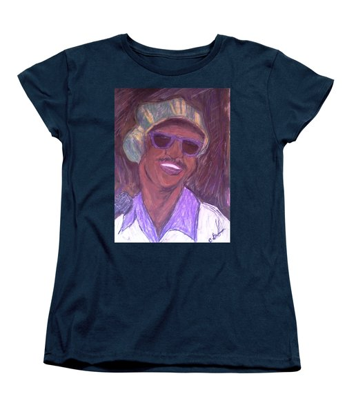 Women's T-Shirt (Standard Cut) featuring the drawing Stevie Wonder 2 by Christy Saunders Church