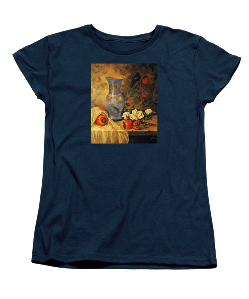 Women's T-Shirt (Standard Cut) featuring the painting Still Life Of Persimmons  by Donna Tucker