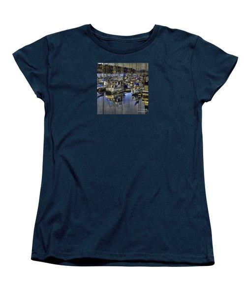 Women's T-Shirt (Standard Cut) featuring the photograph Still Water Masts by Jean OKeeffe Macro Abundance Art