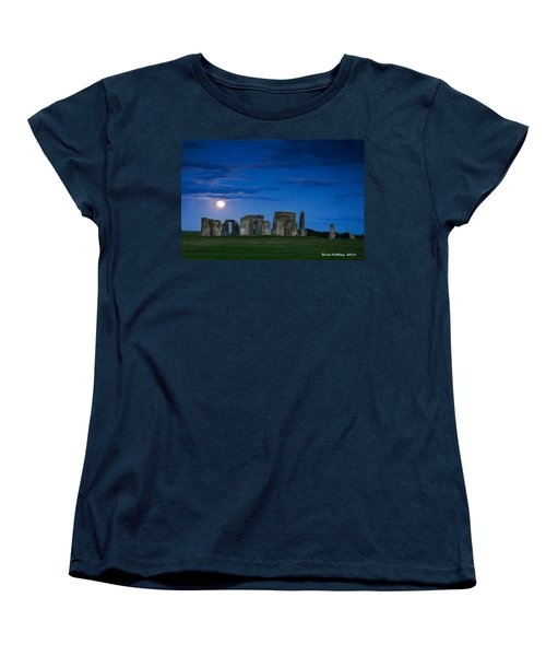 Women's T-Shirt (Standard Cut) featuring the painting Stonehenge At Night by Bruce Nutting