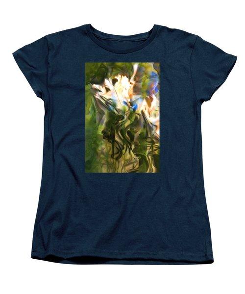 Women's T-Shirt (Standard Cut) featuring the digital art Stork In The Music Garden by Richard Thomas