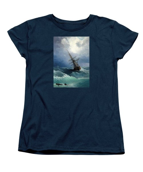 Women's T-Shirt (Standard Cut) featuring the painting Storm by Mikhail Savchenko
