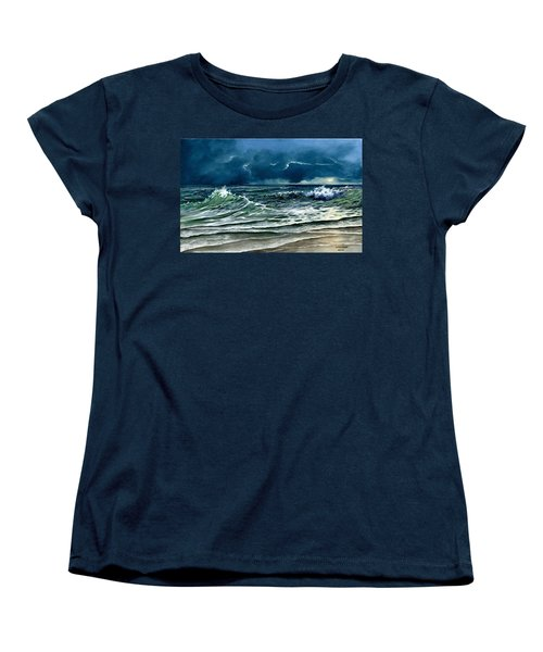 Women's T-Shirt (Standard Cut) featuring the painting Storm Off Yucatan Mexico by Lynne Wright
