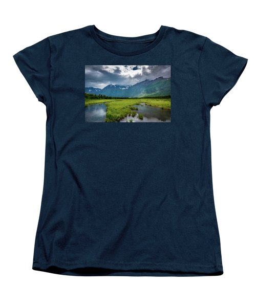 Storm Over The Mountains Women's T-Shirt (Standard Cut) by Andrew Matwijec