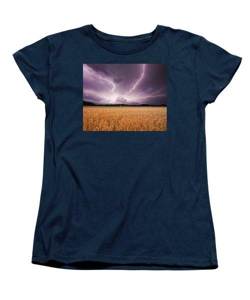 Storm Over Wheat Women's T-Shirt (Standard Cut) by Alexey Stiop